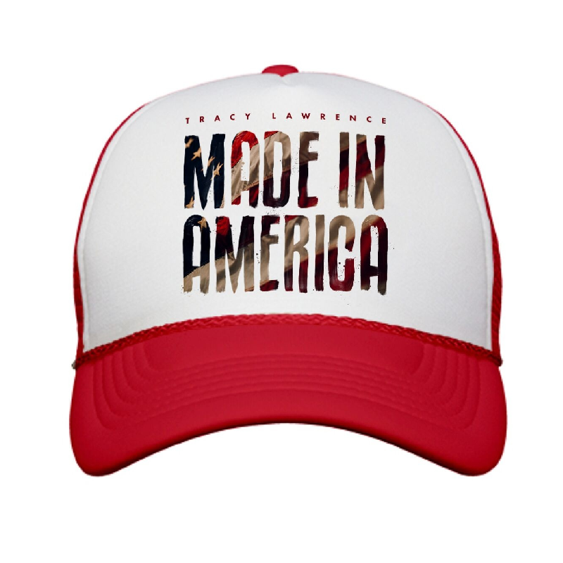 Made In America White and Red Trucker Hat