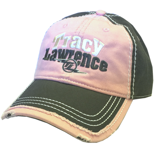 Tracy Lawrence Pink and Grey Distressed Ballcap