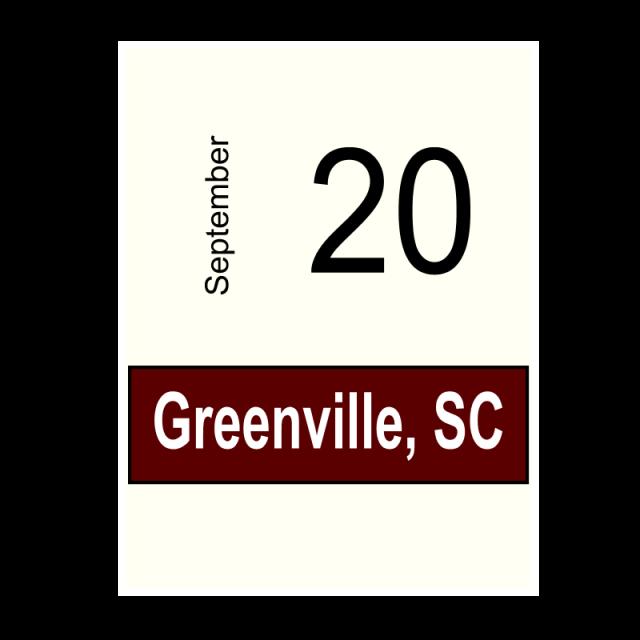 Greenville, SC-  September 20